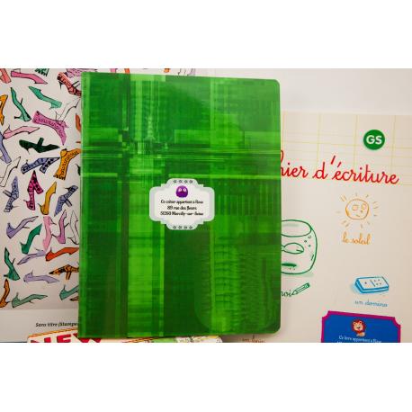 etiquette autocollant design retro base rectangle moyen format cahier