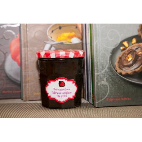 etiquette autocollant design art deco base rectangle grand format pot confiture fraise