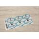 etiquette autocollant design retro base rectangle moyen format planche bleu